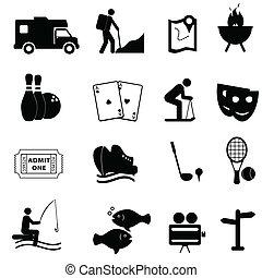 divertimento, lazer, ícones