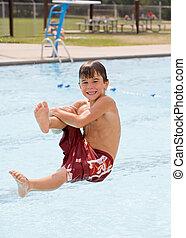 divertimento, menino, pequeno, tendo, piscina
