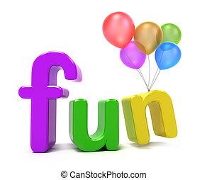 divertimento, palavra, colorido, letras