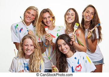 divertimento, pintura, grupo, adolescentes, tendo