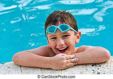 divertimento, tendo, piscina