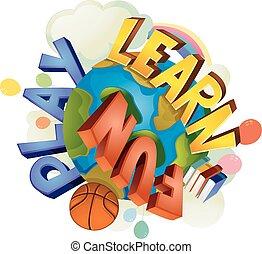 divertimento, texto, jogo, terra, aprender