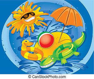 divertimento, verão, (vector)