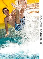 divertimento, verão, waterpark
