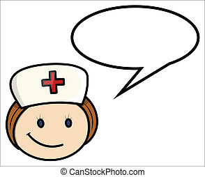 dizendo, enfermeira, vetorial, -, caricatura