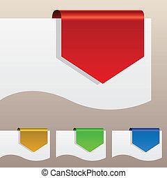 dobrado, etiquetas, edge., desconto, papel, vermelho, ao redor