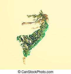 dobro, folhas, mulher, exposição, voando