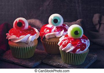 doce, olhos, cupcakes, dia das bruxas