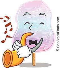 doce, tocando, mascote, conceito, algodão, arco íris, trompete, desenho