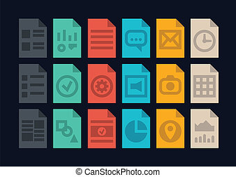 documento, arquivo, tipos, ícones