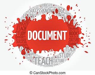 documento, palavra, nuvem