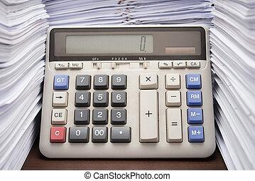 documentos, escritório, calculadora, cima alto, pilha, escrivaninha, pilha