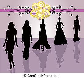 doente, moda, -, meninas