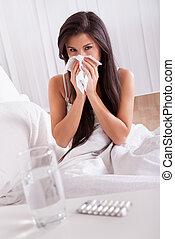 doente, mulher, gripe, gelado, cama