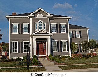 dois andares, bronzeado, grande, lar