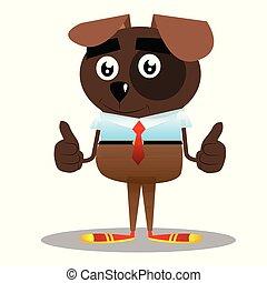 dois, negócio, cão, cima, sinal, polegares, fazer, hands.
