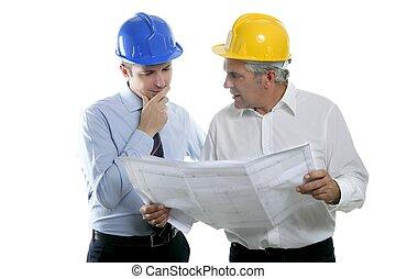dois, plano arquiteto, equipe, hardhat, perícia, engenheiro