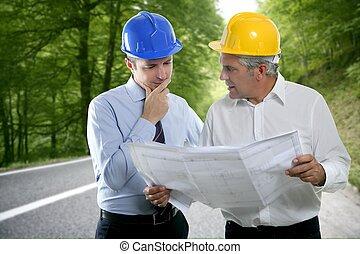 dois, plano arquiteto, hardhat, perícia, engenheiro, estrada, floresta
