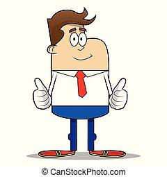 dois, simples, cima, sinal, retro, homem negócios, fazer, caricatura, hands., polegares