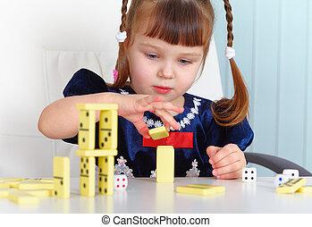 dominoes, tocando, criança