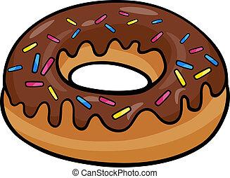 donut, corte arte, caricatura, ilustração