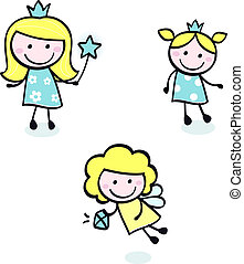 doodle, azul, cute, isolado, -, princesa, cobrança, branca