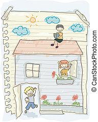 doodle, crianças, jogando casa