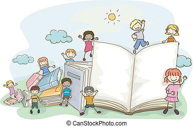 doodle, crianças, livro
