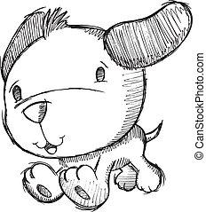 doodle, desenho, esboço, filhote cachorro, cão