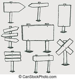doodle, direção, madeira, setas, sinais
