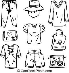 doodle, estilo, jogo, menina, roupas