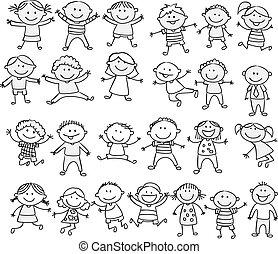 doodle, feliz, caricatura, cobrança, criança