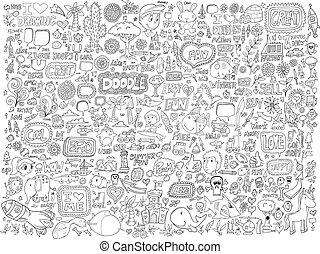 doodle, flores, jogo, animais, pessoas