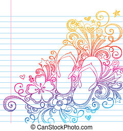 doodle, inverter, sketchy, vec, fracassos, praia