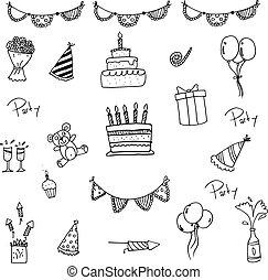 doodle, jogo, aniversário, crianças