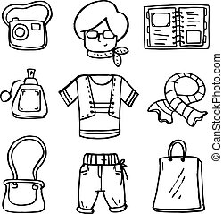 doodle, mulheres, jogo, roupas