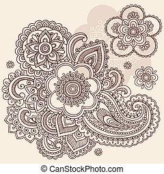 doodle, paisley, vetorial, flor, henna
