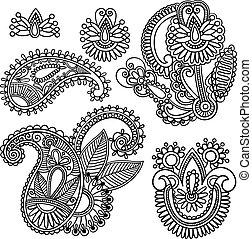 doodle, paisley, vetorial, flores, ilustração