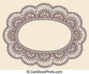 doodle, renda, vetorial, quadro, henna