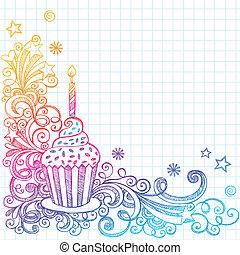 doodle, sketchy, aniversário, cupcake