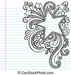 doodle, sketchy, armação estrela, quadro