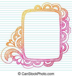 doodle, sketchy, vetorial, quadro, quadro