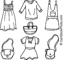 doodle, tema, jogo, mulheres, roupas