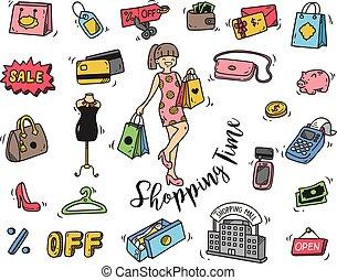 doodle, tempo, shopping, ícone