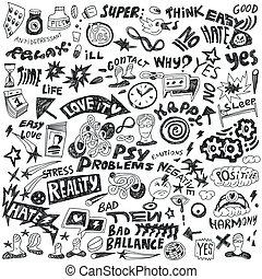 doodles, jogo, -, psicologia
