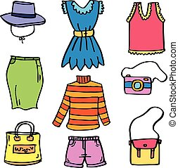 doodles, mulheres, jogo, roupas
