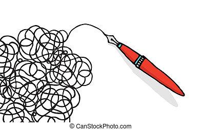 doodling, caneta, desenho