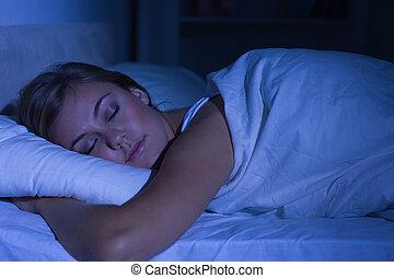 dormir, mulher, noturna, sereno
