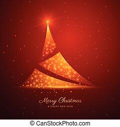 dourado, árvore, desenho, fundo, faíscas, natal, vermelho