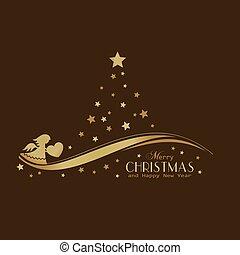 dourado, árvore, estrelas, anjo, natal